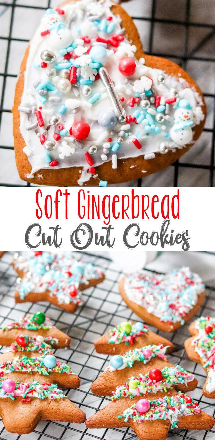 Don't like crisp Gingerbread Cookies? These Soft Gingerbread Cut Out Cookies are perfect for cookie cutters, and are soft and spiced perfectly.