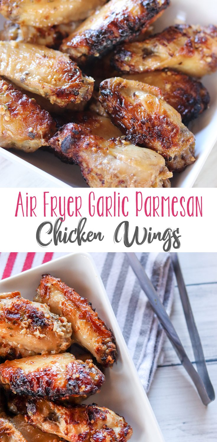 These Air Fryer Garlic Parmesan Chicken Wings are super easy and incredibly delicious! Full of great garlic flavor and crisped to perfection in your favorite air fryer, you will gobble these right up.