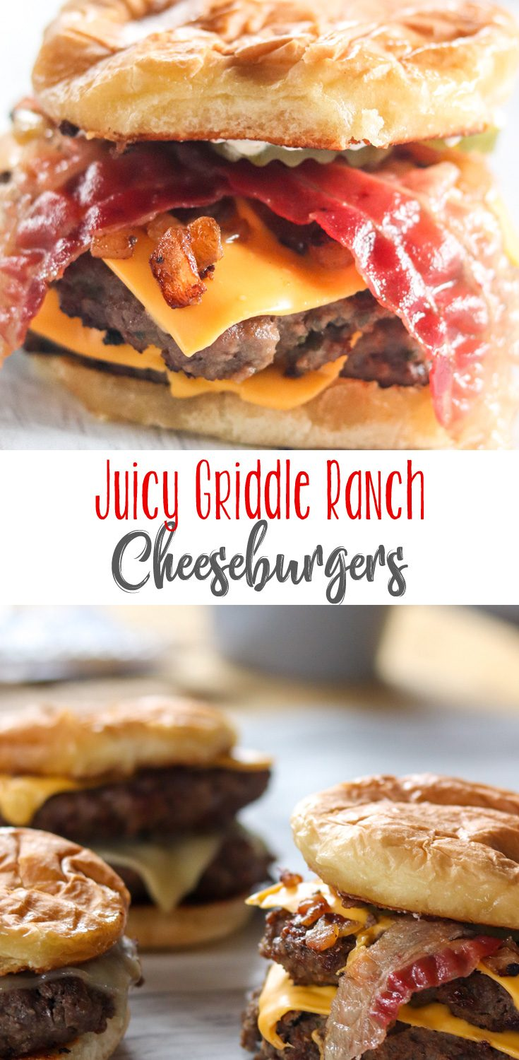 These Juicy Griddle Ranch Cheeseburgers are absolutely mouthwatering. Filled with flavor, they don't even need much dressing up at all. Try this awesome cheeseburger recipe tonight!