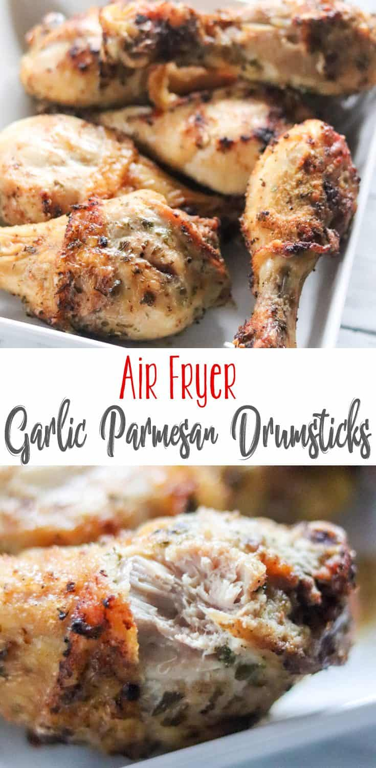 Crispy on the outside, juicy on the inside, these Air Fryer Garlic Parmesan Chicken Drumsticks will quickly become a favorite! Add this to your favorite air fryer recipes.