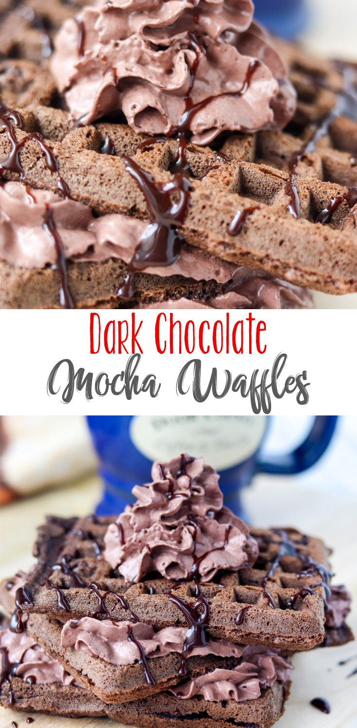 Rich chocolate waffles with just a touch of coffee flavor, these Dark Chocolate Mocha Waffles make the perfect dessert to top of any meal! Enjoy with a hot, steaming cup of flavorful Door County Coffee and you'll be in heaven.