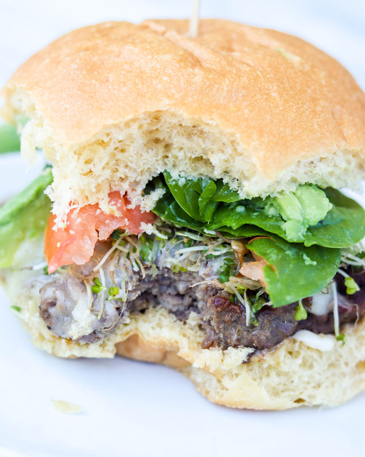 Avocado Sprouts California Cheeseburgers with Shallot Mayo