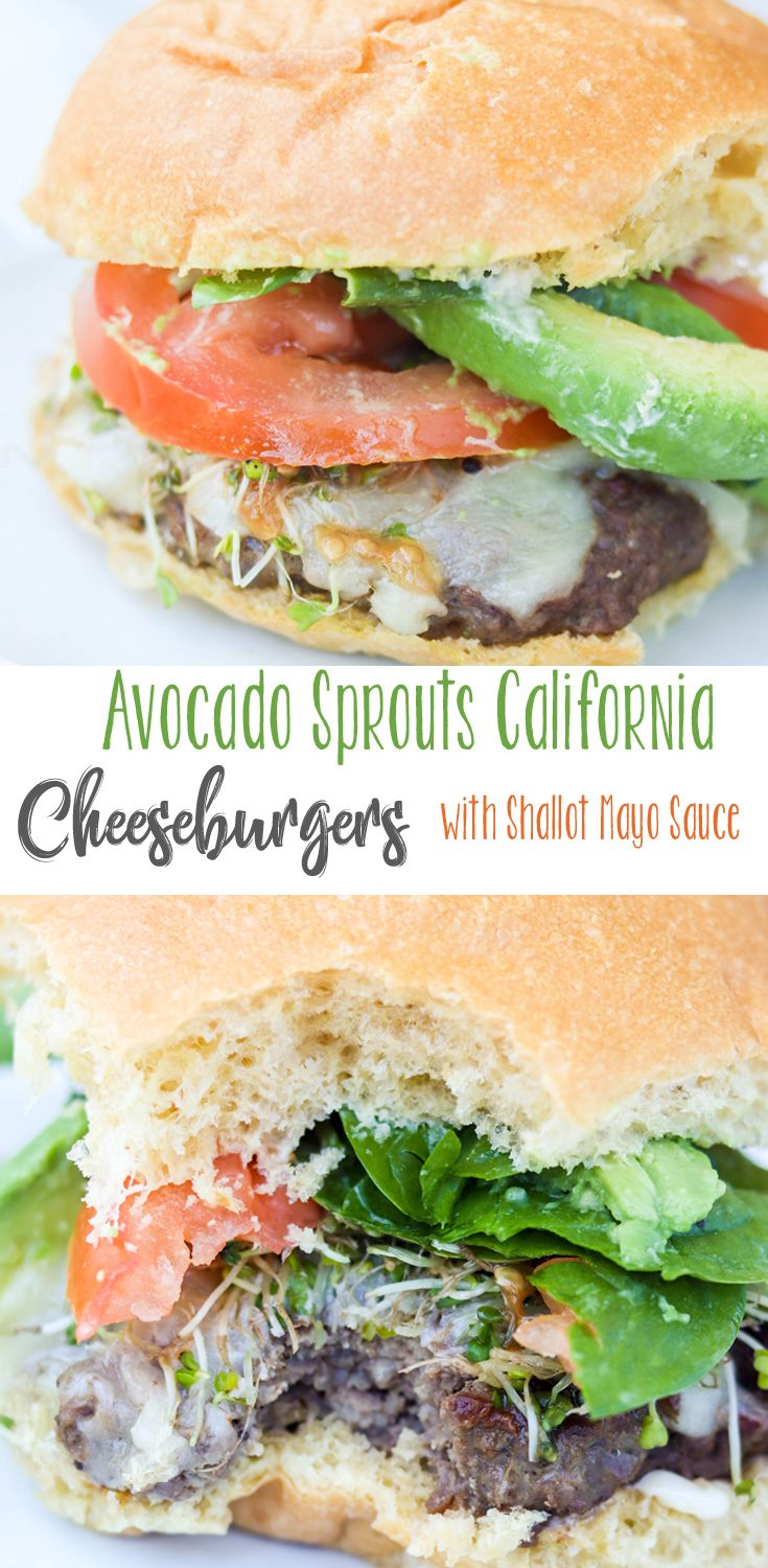 Filled with fresh vegetable toppings, these lightly seasoned burgers are juicy, but filled with great flavor from all of the fantastic toppings and the incredible shallot mayo! Avocado Sprouts California Cheeseburgers with Shallot Mayo are perfect for your next BBQ, picnic or backyard burger event! #BurgerMonth