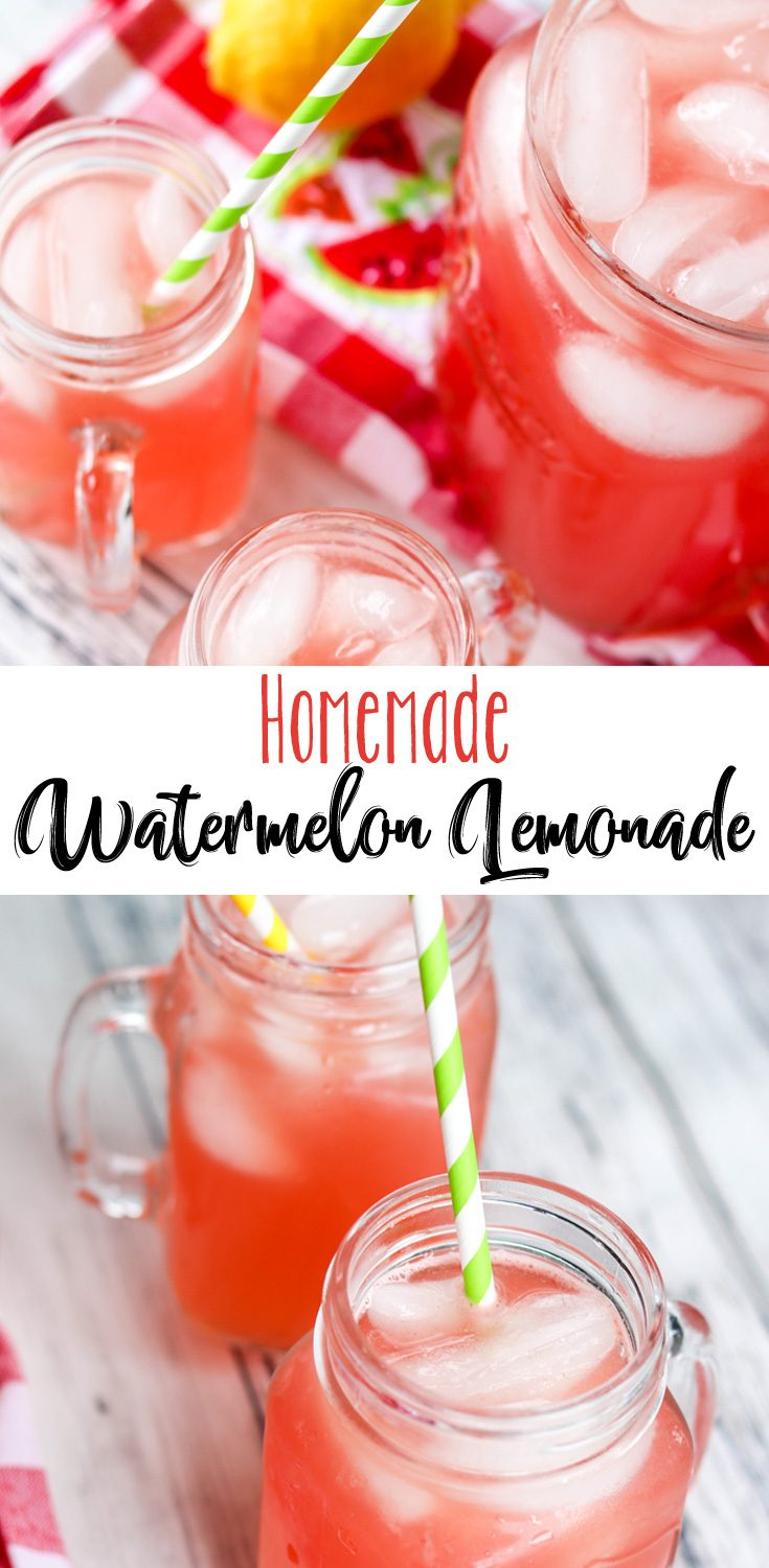A little bit tart, a little bit sweet, this refreshing Homemade Watermelon Lemonade is the perfect addition to your summer BBQ menu. It goes really well with anything you pull off the grill. Perfect for a hot day.