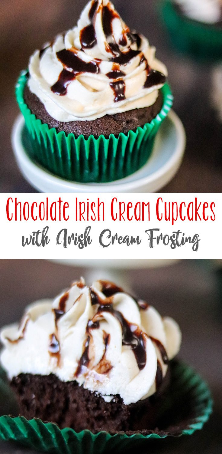 Rich, moist chocolate cupcakes with a sweet Irish Cream flavor topped with the most incredible, buttery Irish Cream Frosting. A decadent cupcake that's a big hit at any event! These Chocolate Irish Cream Cupcakes with Irish Cream Frosting are a favorite! #CupcakeLoversDay