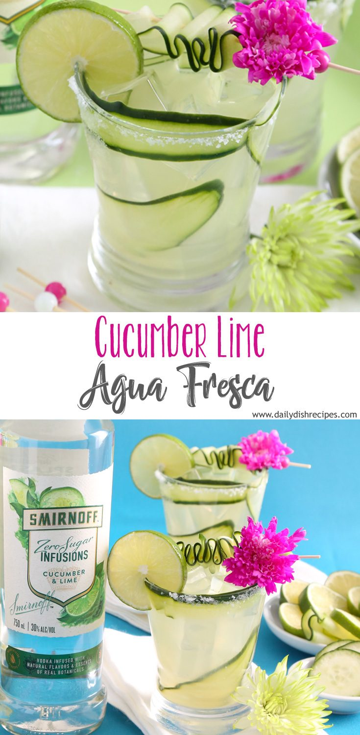 The perfect drink for those hot summer days, Cucumber Lime Agua Fresca is incredibly refreshing and absolutely delicious. A fun adult beverage to keep you cool in the summer. Made with new Smirnoff Zero Sugar Infusions!