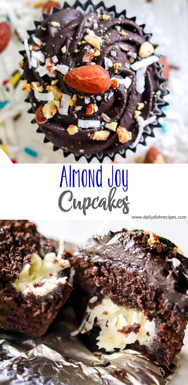 These Almond Joy Cupcakes are a coconut lovers dream. Rich, dark chocolate coconut cake, gooey coconut filling and topped with a decadent dark chocolate coconut frosting. Perfection!