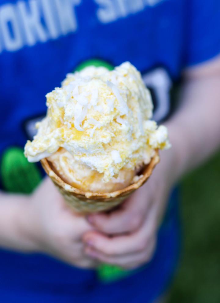 No Churn Mango Swirl Ice Cream