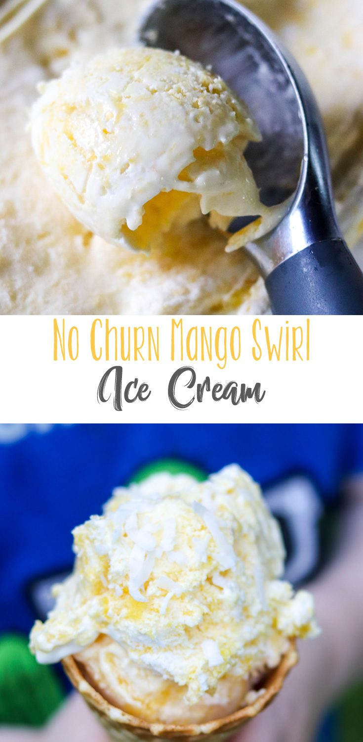 Creamy, vanilla ice cream swirled with mango puree and chunks of mango. Refreshing on the hottest days. Homemade No Churn Mango Swirl Ice Cream is one our favorite ice cream recipes.