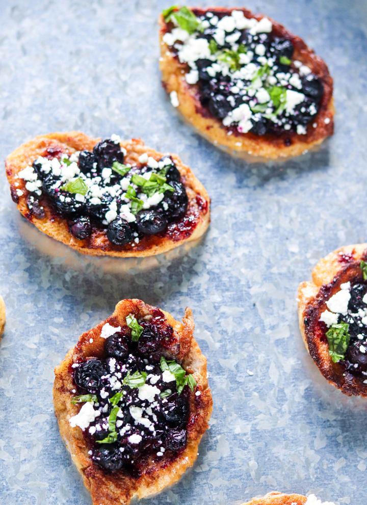 Roasted Blueberry French Toast Crostini