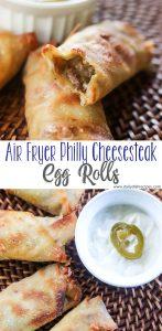 Air Fryer Philly Cheesesteak Egg Rolls PIN