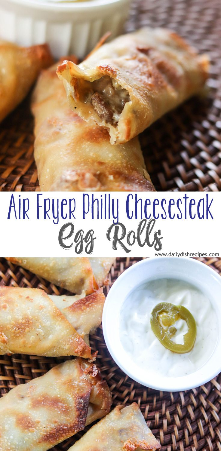 A favorite tailgating recipe, these Air Fryer Philly Cheesesteak Egg Rolls are both easy and delicious. Always a huge hit at any gameday event, stuffed with steak, cheese, peppers and mushrooms. Or leave out the veggies and just do steak and cheese all the way.