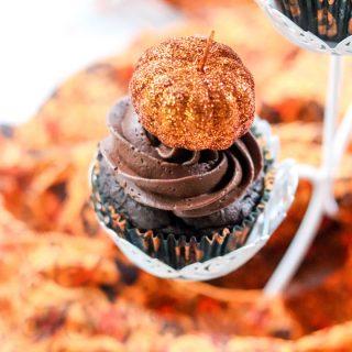 Double Chocolate Pumpkin Cupcakes