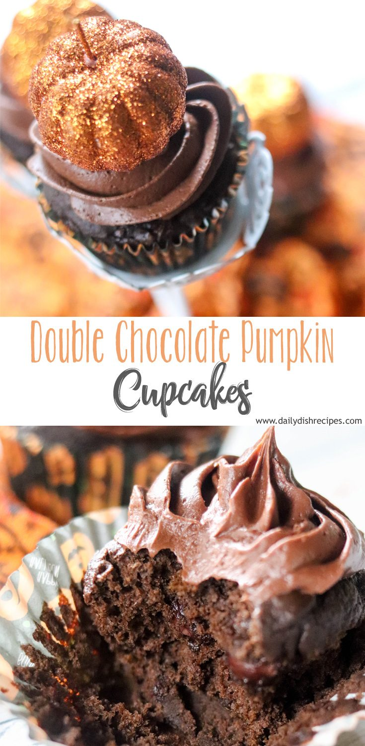 These easy, but incredibly delicious Double Chocolate Pumpkin Cupcakes are perfect for any of your autumn events. From tailgating and games to Halloween parties and more.
