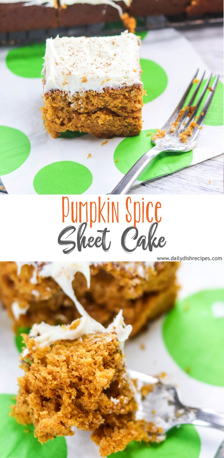 This cake is incredible, moist, bouncy and perfectly spiced! It's called a pumpkin spice sheet cake but it makes much more and its our favorite to make in the Fall.