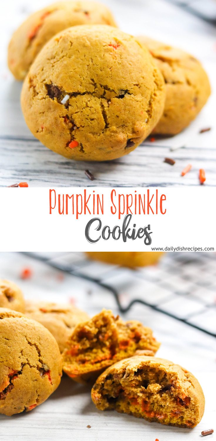 These moist, spiced pumpkin sprinkle cookies are festively filled with fall sprinkles and packed with so much delicious pumpkin spice flavor. An easy cookie and a must have on any cookie platter.