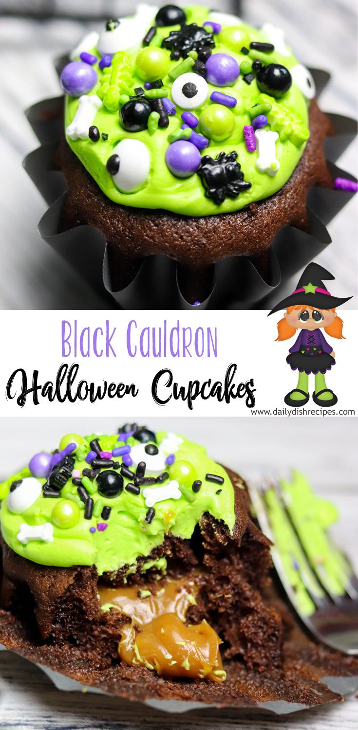Chocolate Cupcakes topped with green frosting and filled with dripping caramel when they take their first bite. And further decorated with eye of newt, bones, spiders, bubbles and eyeballs. Could it be any creepier? Happy Halloween!