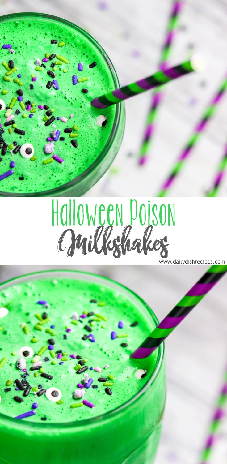 Minty, green and festive, these Halloween Poison Milkshakes are delicious, topped with sprinkles just in time to celebrate!