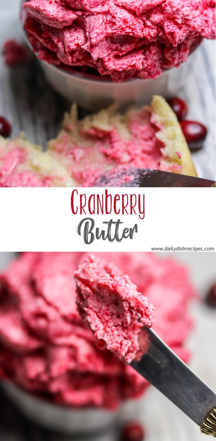 This incredibly delicious, tart & sweet whipped cranberry butter is so easy and so perfect for any Fall or Winter meal. Serve at Thanksgiving and Christmas with rolls, turkey and more! #cranberryweek
