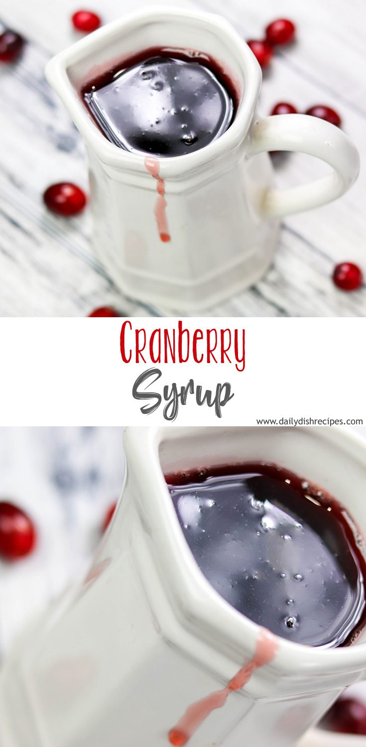 Make your holiday morning special with homemade cranberry syrup. This easy recipe is fantastic over pancakes, waffles, french toast…  you pick.