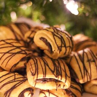 Dark Chocolate Pecan Croissant Cookies