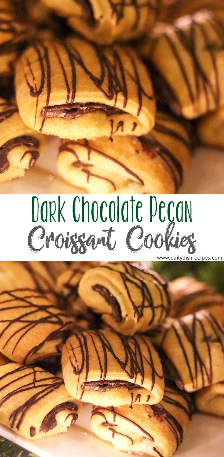 These Dark Chocolate Pecan Croissant Cookies are unique and different compared to what you typically find on a cookie platter. But they are oh so very rich and delicious. Flaky, with a delicate crust and mildly sweet dark chocolate, with crushed pecans, make these croissant cookies, one of a kind.